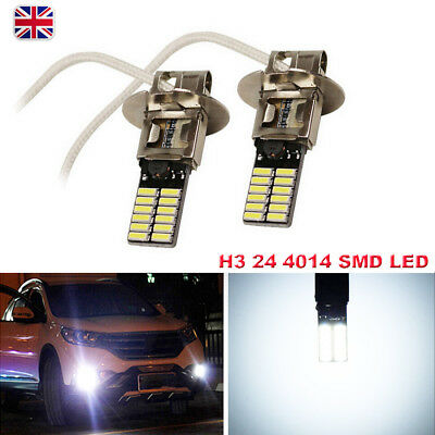 White H3 24 4014 SMD LED Car Headlight DRL Driving Fog Light Bulbs 12V