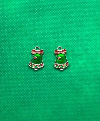 2 Silvertone Green & Red Enamel Christmas Bell Charms