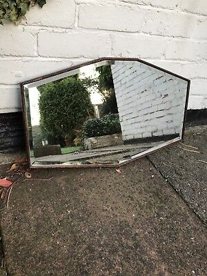 Antique Wooden Bevelled Mirror Vintage Old Mirror Wooden Framed