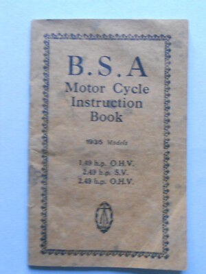 BSA tutti modelli moto 1935 manuale uso originale epoca genuine owner's manual