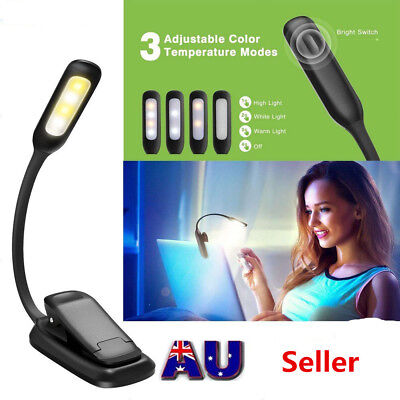 Rechargeable Travel Flexible LED Clamp Clip On Reading Book Light Lamp Portable