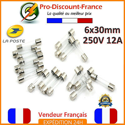 250v 18fus002 5x lot Fusibles verre 6x30mm rapide 1A F1A