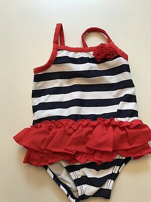 Carters Baby Girl Blue White And Red Swimsuit - 3 Months