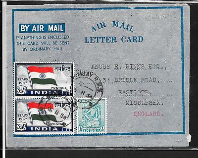 India 1954 Air Letter With Stamp Exhibition Label 1-7 Oct .1954