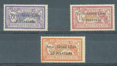 Syria and Lebanon 1923 sg.107-8 MH and sg.109 MNH