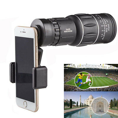 16x52 Zoom Optical HD Lens Monocular Telescope Outdoor Hiking For Smart Phone