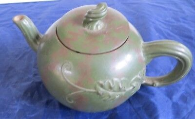 Vintage Chinese Yixing Clay Tea Pot Green Pumpkin Form Signed