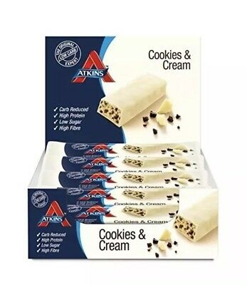 Atkins Cookies and Cream Low Carb High Protein Snack Bar - 4x5 Boxes of 20 x 30g
