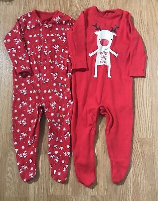 Lovely F&F (Tesco) Baby Girl Boy Christmas Sleepsuits X2 Age 0-3 Months