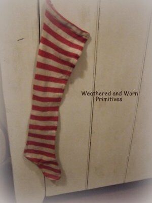 "Primitive Country Long Red & White Aged Fabric Christmas Stocking 29"" Long"