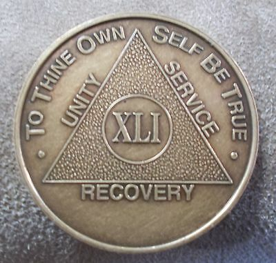 aa alcoholics anonymous bronze 41 year coin token medallion