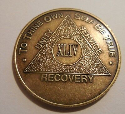 aa alcoholics anonymous bronze 44 year coin token medallion