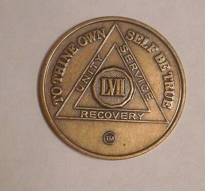 aa alcoholics anonymous bronze 57 year recovery sobriety coin medallion