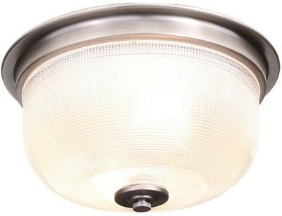 12 in. 2-Light Flush Mount Ceiling, Clear Prismatic Glass Shade, Antique Nickel