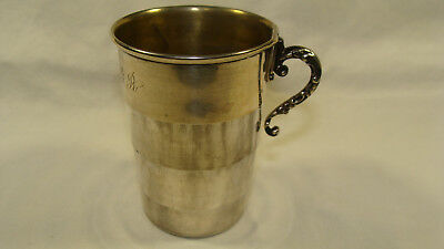 Vintage Sterling Silver 925 Collapsible Travel Cup With Folding Handle
