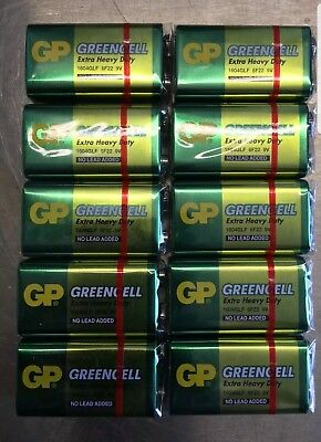 10 X 9V GP Greencell MN1604 Extra Heavy Duty Batteries 6F22 PP3 9 Volt