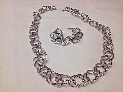 Silver double chain necklace & bracelet (costume jewelry) by unknown manufacture