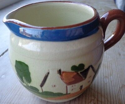 """Watcombe Devon Pottery Motto Jug """"The world looks brighter from behind a smile"""""""
