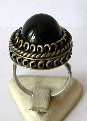 Fantastic Post Medieval Silver Ring With Beautiful Filigree And Black Stone # 83