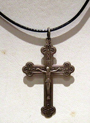 ATTRACTIVE VINTAGE EARLY 20 th.c. RUSSIAN ORTHODOX SILVER 875% CROSS  # 32C
