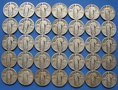 *nice Lot Of (35) Standing Liberty Quarter All With Dates - Estate Fresh*
