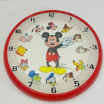 Sunbeam Quartz Disney Wall Clock Vintage Mickey Mouse and Friends Works USA