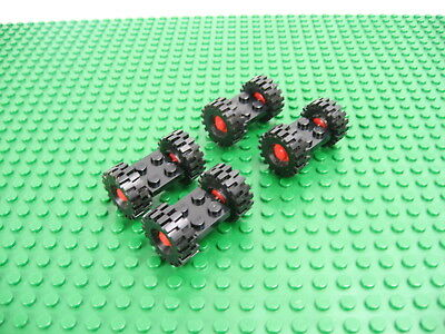 4x Vintage LEGO Black Modified Plate 2x2 w/Red Wheel Black Tire Med #122c01 4048