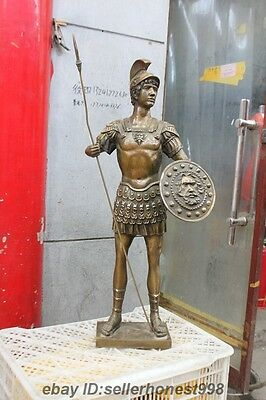 Huge Ancient Greek Warrior hold Javelin God of war shield Bronze Art Sculpture