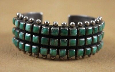 Vintage Navajo Three Row Turquoise and Silver Bracelet - Signed