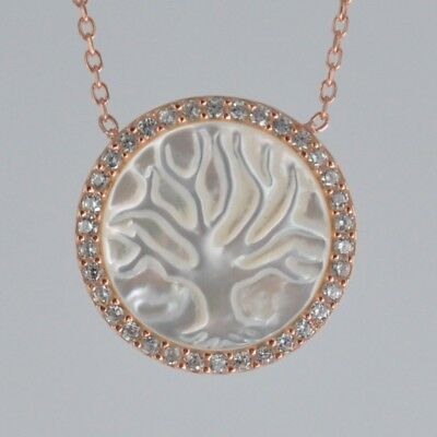 Sterling Silver CZ Lined Carved Mother of Pearl Tree of Life Necklace Rose Gold