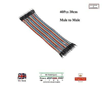 40Pcs 20cm Male to Male Color Breadboard Jumper Cable Dupont Wire Ribbon