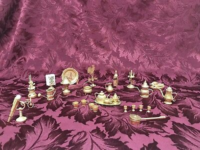 Vintage Lot of 38 Tiny Miniature Brass Pieces From India See Description