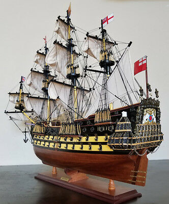 "HMS Prince 34"" model wood ship British navy wooden tall ship sailing boat"