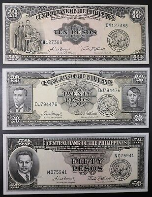 Central Bank of the Philippines Lot of 3 1949 Notes 10 20 & 50 Pesos