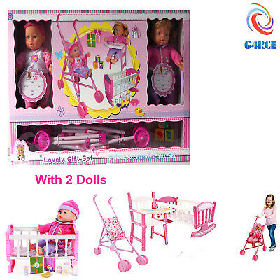 4 in1 Kids Baby Child's Doll Toy 2 Dolls/ Carry Cot/ Highchair /Stroller Playset