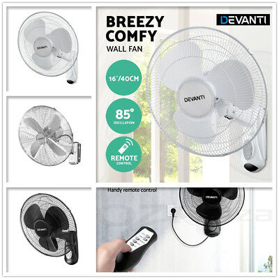 40cm 16'' Oscillating Wall Mounted Fan Remote Control Timer Quiet Air Cooler New