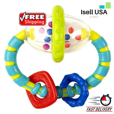 Baby Grab And Spinning Rattle Develops Hand/Eye Coordination Teething Relief NEW