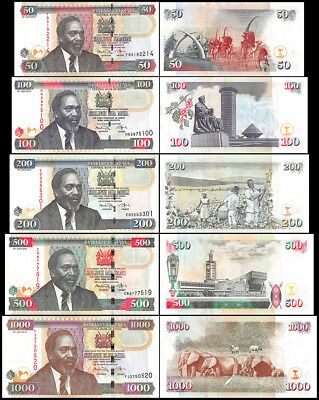 Kenya 50 - 1,000 - 1000 Shillings 5 Pieces - PCS Full Set, 2010, P-45-51, UNC