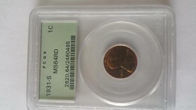 1931S lincoln cent-pcgs certified MS64RD (older green holder)