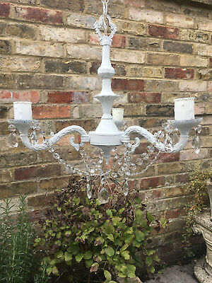 Pretty Shabby Painted Vintage Lead Crystal Chandelier Rewired