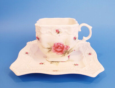 Square Shaped Fine Porcelain English Design Tea Cup and Saucer Set Rose Floral