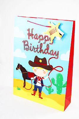 Birthday Gift Bag Extra Large Kids Boys Cute Cowboy Foil Luxury Present Wrap