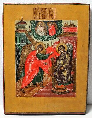 Antique 19th century Russian Orthodox Tempera Painted Icon: Annunciation
