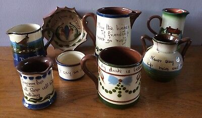 Collection Of 8 Vintage Torquay Ware/Motto Ware, Various. Jugs, Jars, Cups Etc.