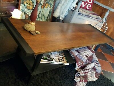 Retro Coffee Table ~ Annie Sloan Graphite Chalk Paint Vintage Preloved Reloved