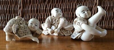 Three, Antique/Vintage, Signed, Carved, Resin?, Japanese Figurines. VGC.