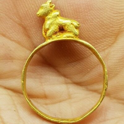 Ancient Beautiful Gold 22k karat Lovely Ring With Cow on Top  # 6i