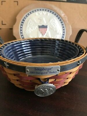 Longaberger 2005 Inaugural Basket NEW! W/Pin Tie On - Lid - Liner & Protector