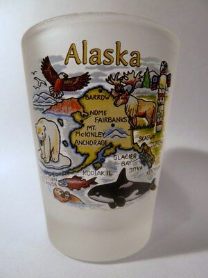 Alaska Map Frosted Shot Glass Shotglass