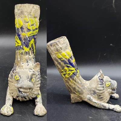 Roman Unique Ancient Glass Wine Rhyton With Lovely  Lion animal   # 6i